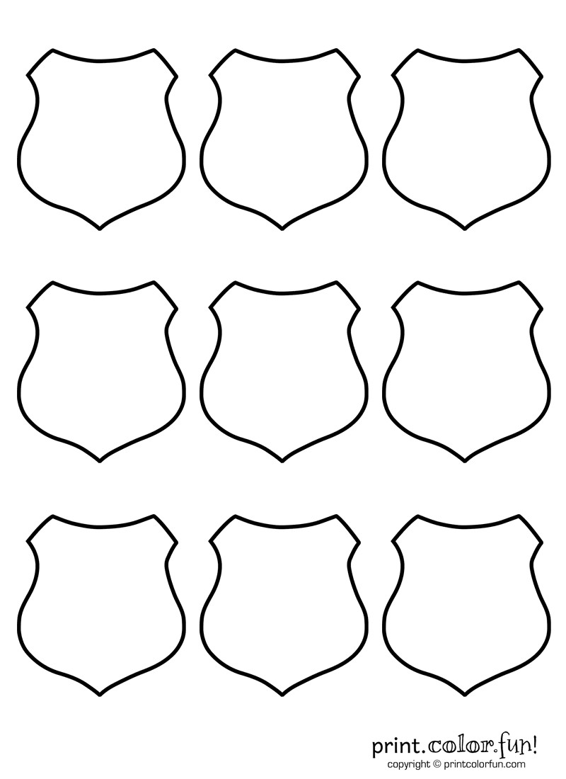 Blank Police Badge Template 9 Blank Shields Coloring Page Print Color Fun