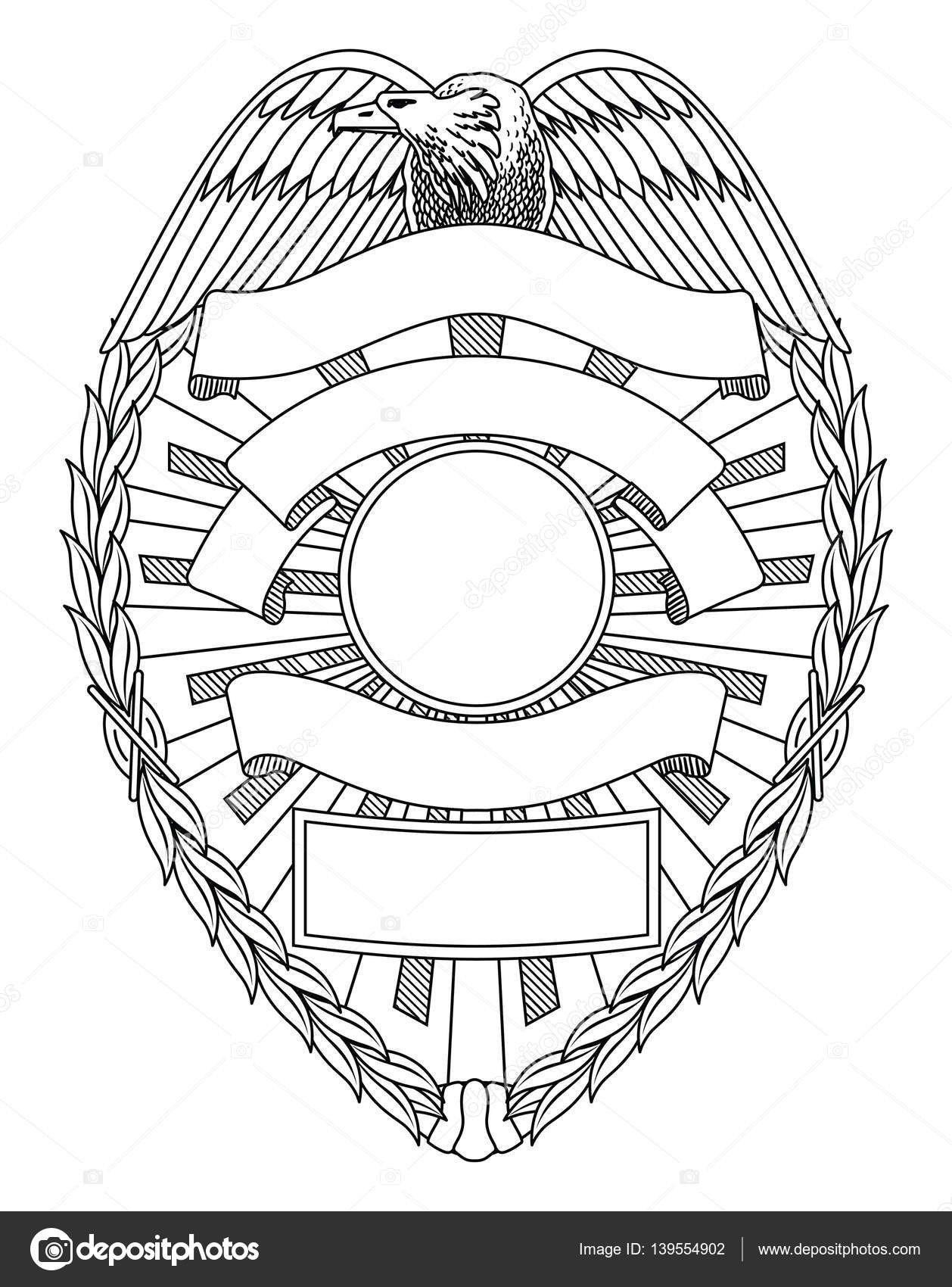 Blank Police Badge Template Police Badge Blank — Stock Vector © Awesleyfloyd