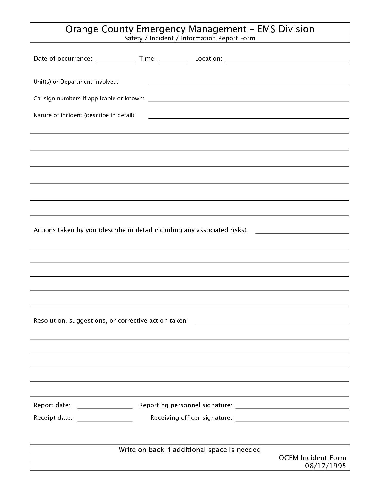 Blank Police Report Template Best S Of Free Police Incident forms Printable