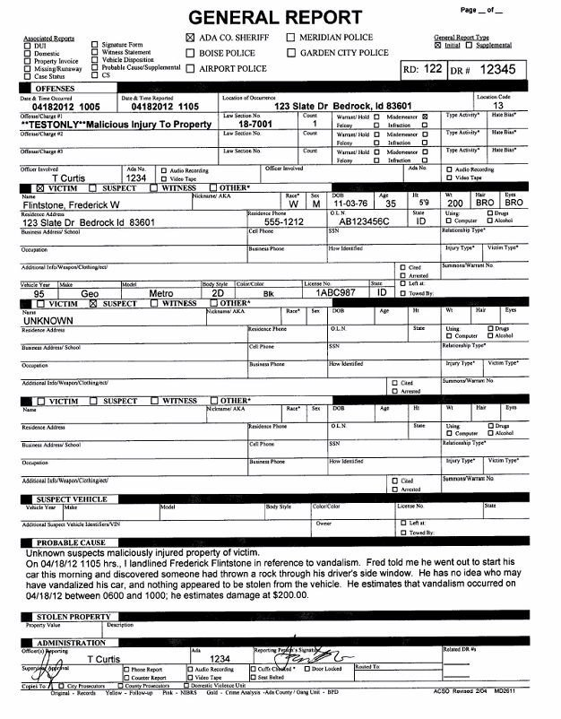 Blank Police Report Template How Ada County Sheriff S Fice Automated Departmental