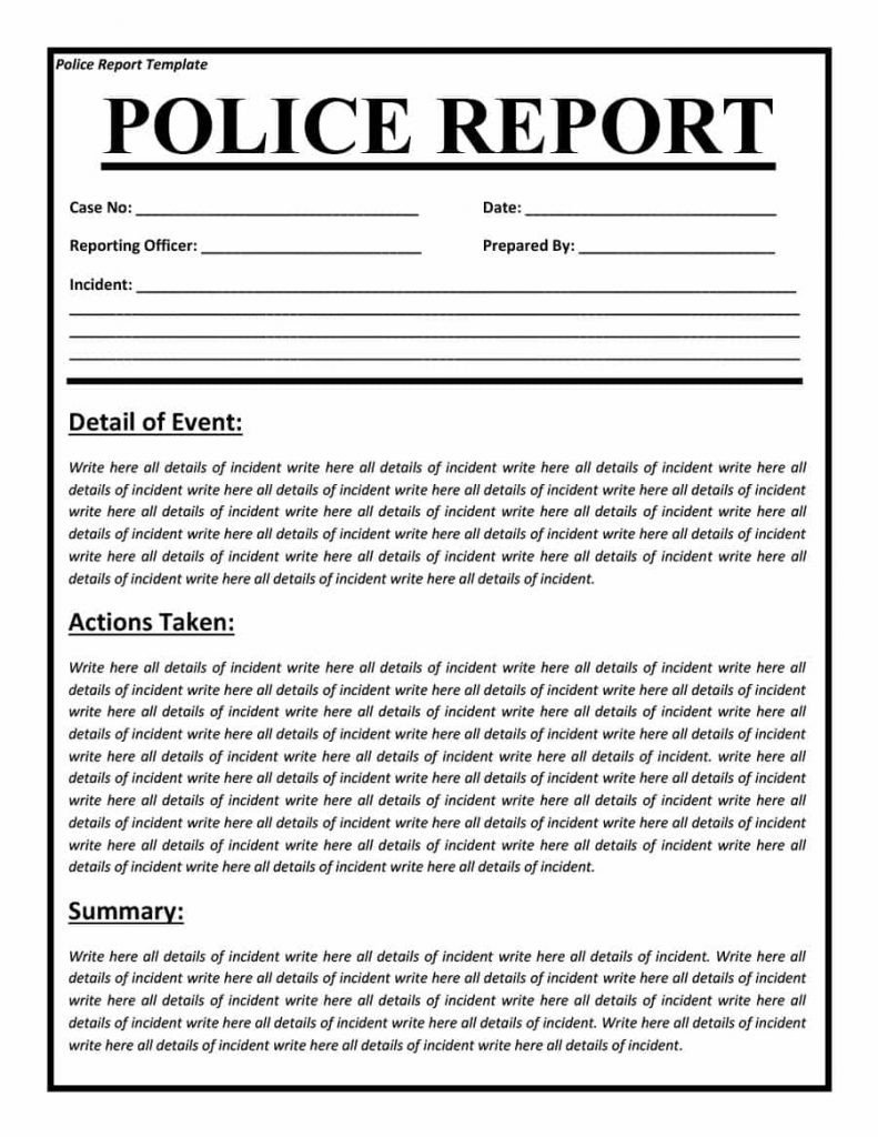 Blank Police Report Template Police Report Templates 8 Free Blank Samples Template