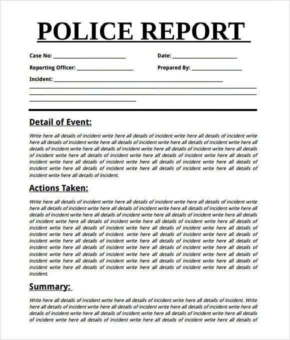 Blank Police Report Template Sample Police Report 7 Documents In Word Pdf