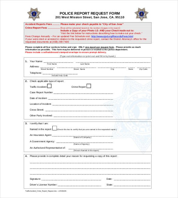 Blank Police Report Template Sample Police Report Template 11 Free Word Pdf