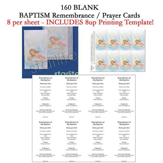 Blank Prayer Card Template Baptism Remembrance Cards Baptism Prayer Cards Favors