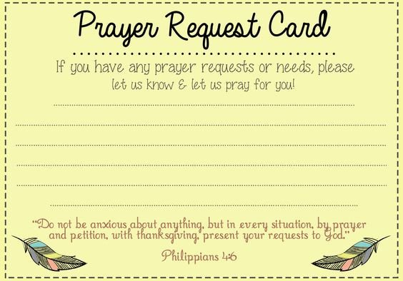 Blank Prayer Card Template Prayer Request Card Ideas and Prayer On Pinterest