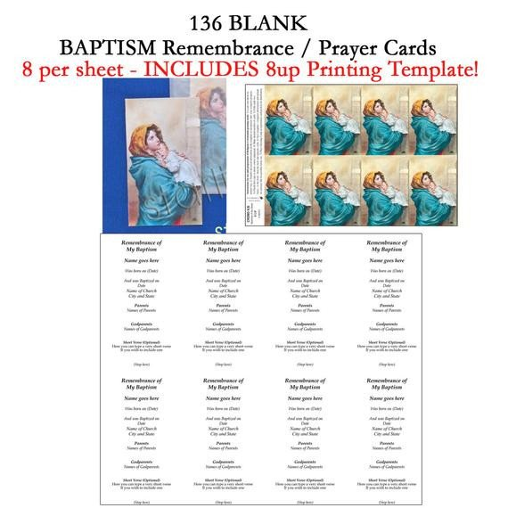 Blank Prayer Card Template Printable Baptism Remembrance Cards Diy Baptism