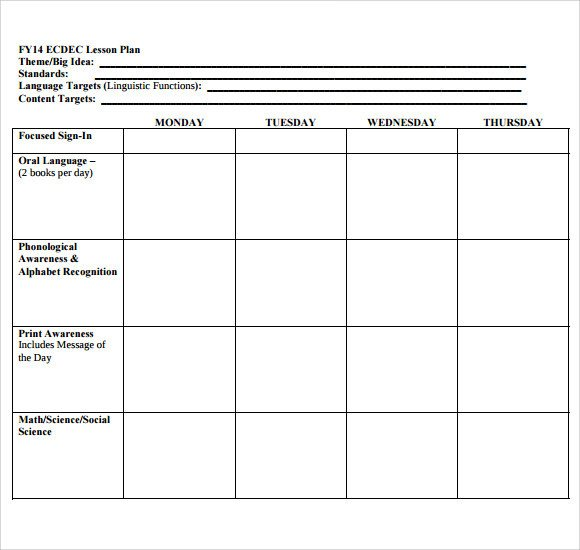 Blank Preschool Lesson Plan Template Sample Blank Lesson Plan 10 Documents In Pdf