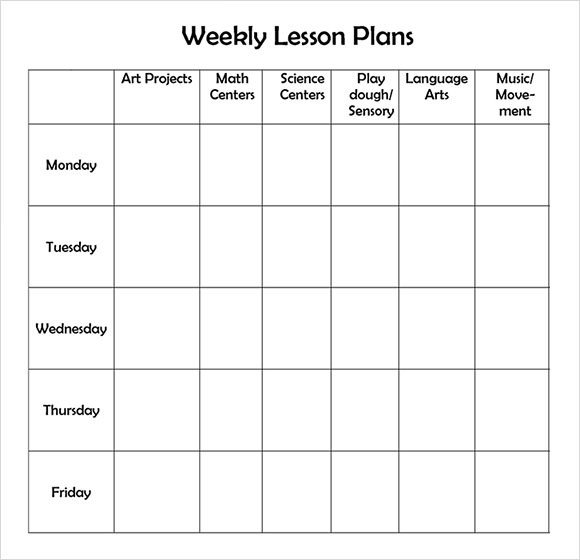 Blank Preschool Lesson Plan Template Weekly Lesson Plan 8 Free Download for Word Excel Pdf