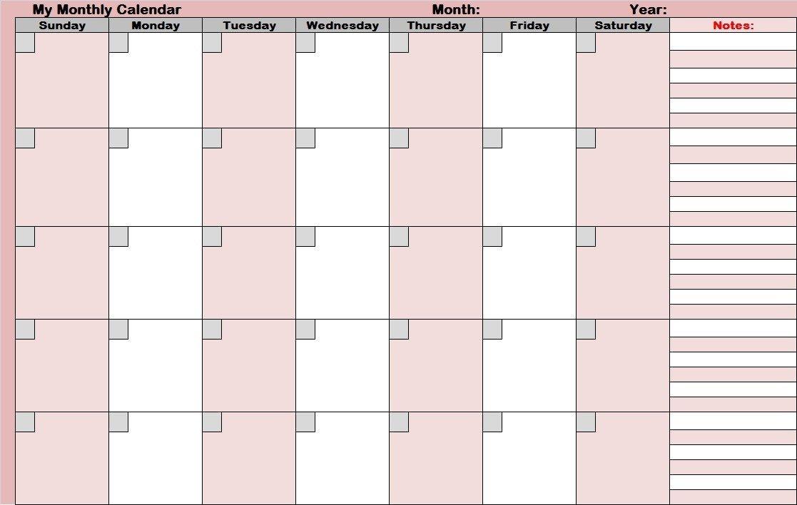 Blank Printable Calendar Template 14 Blank Activity Calendar Template Printable