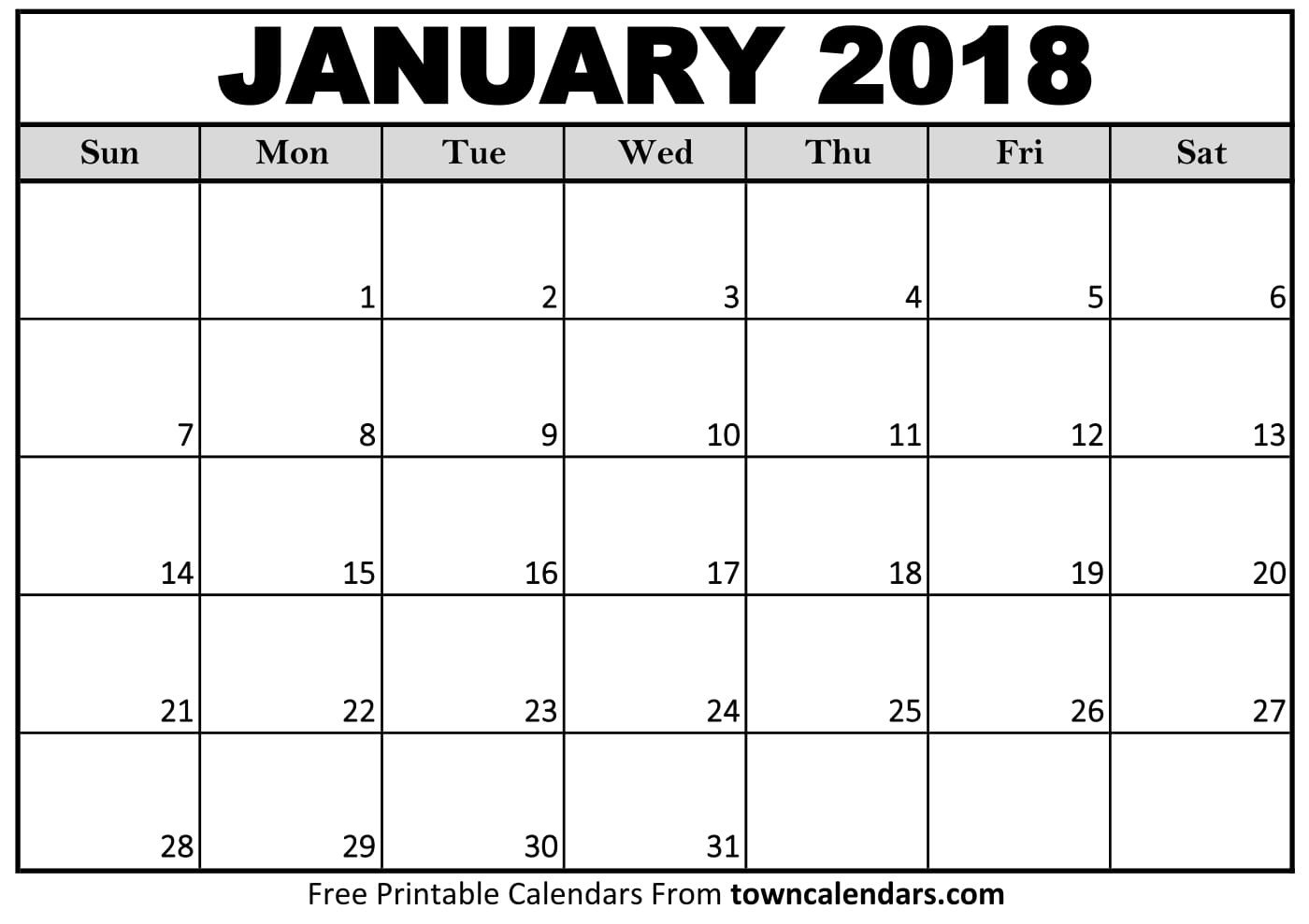 Blank Printable Calendar Template 2018 Calendar Printable towncalendars