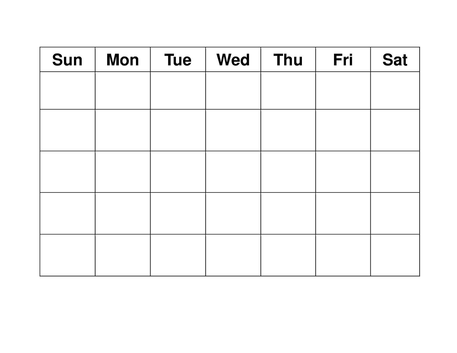 Blank Printable Calendar Template Blank Weekly Calendars Printable