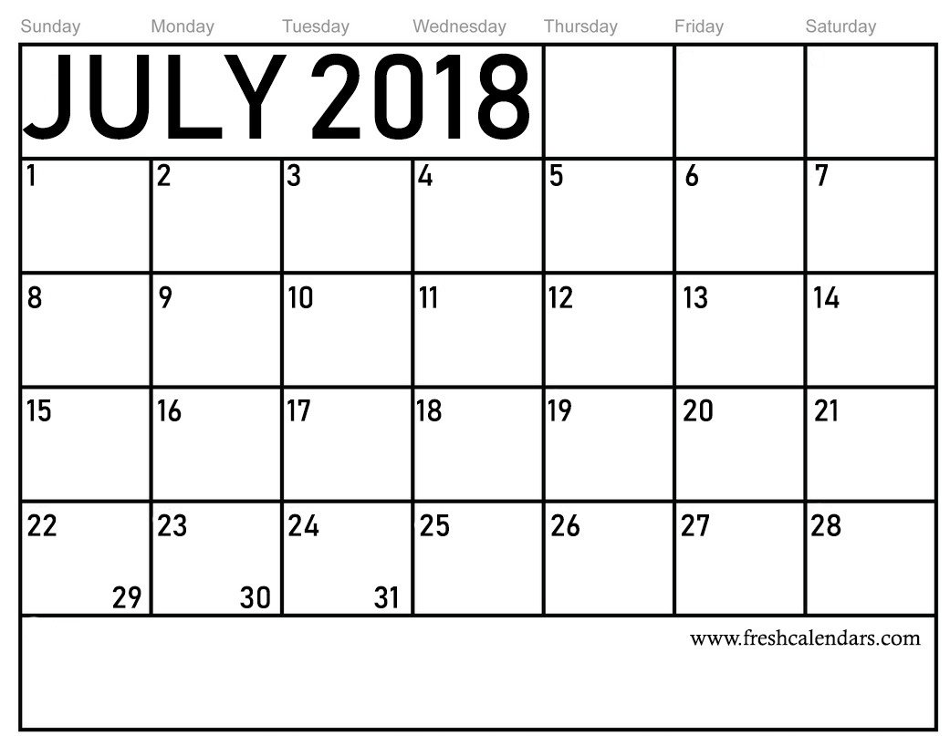 Blank Printable Calendar Template Free 5 July 2018 Calendar Printable Template source