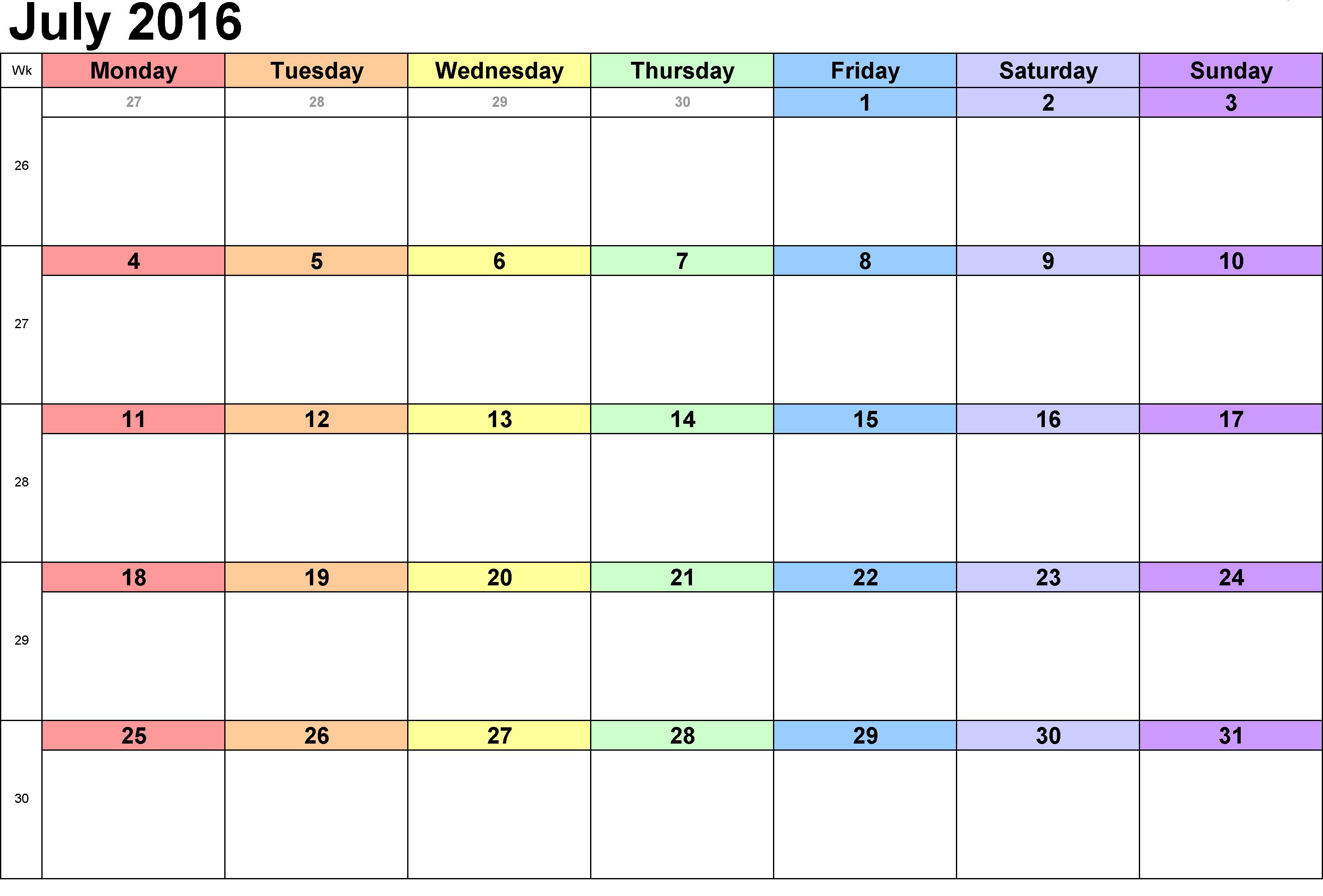 Blank Printable Calendar Template July 2016 Blank Weekly Templates