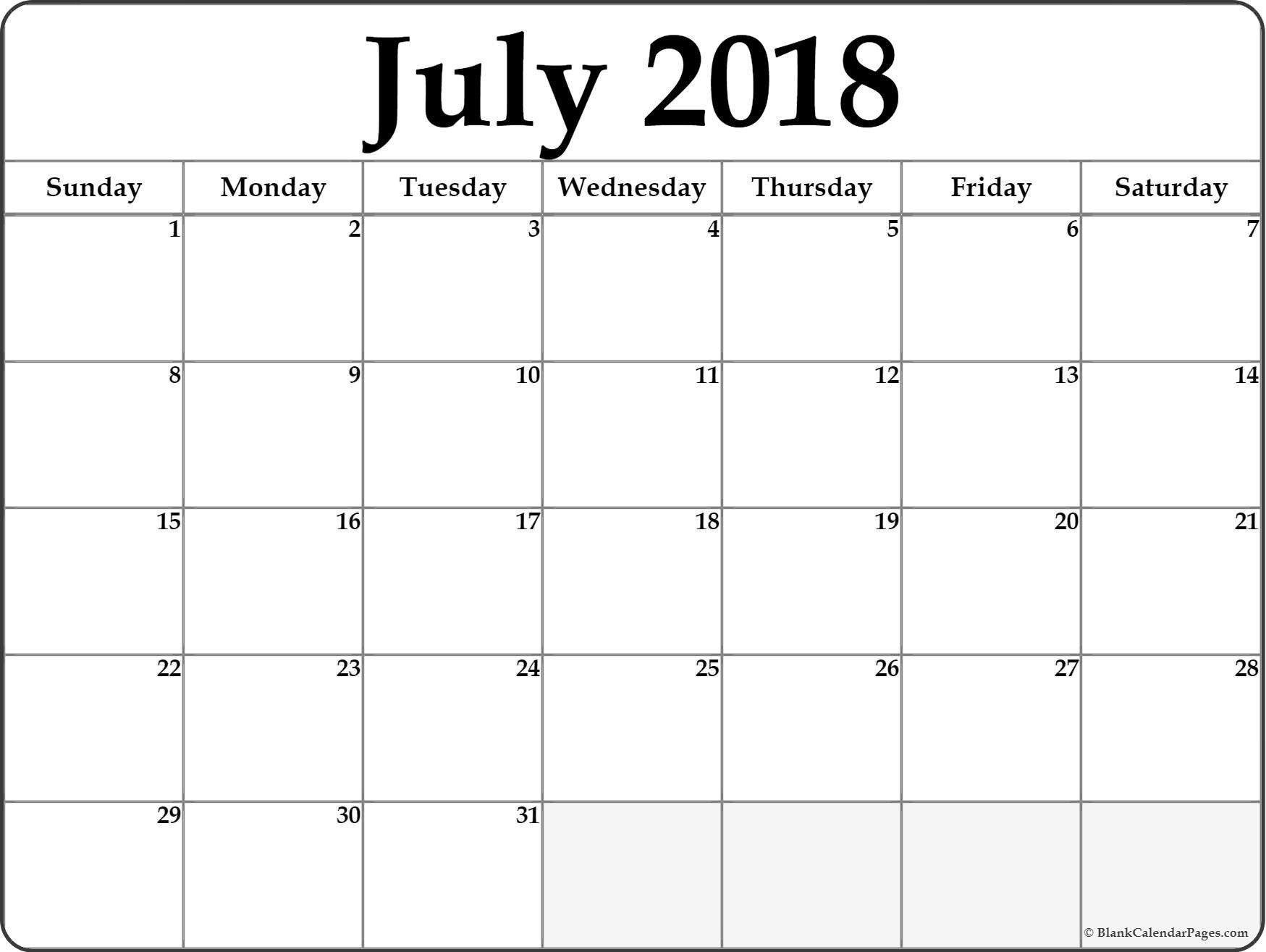 Blank Printable Calendar Template July 2018 Blank Calendar Templates