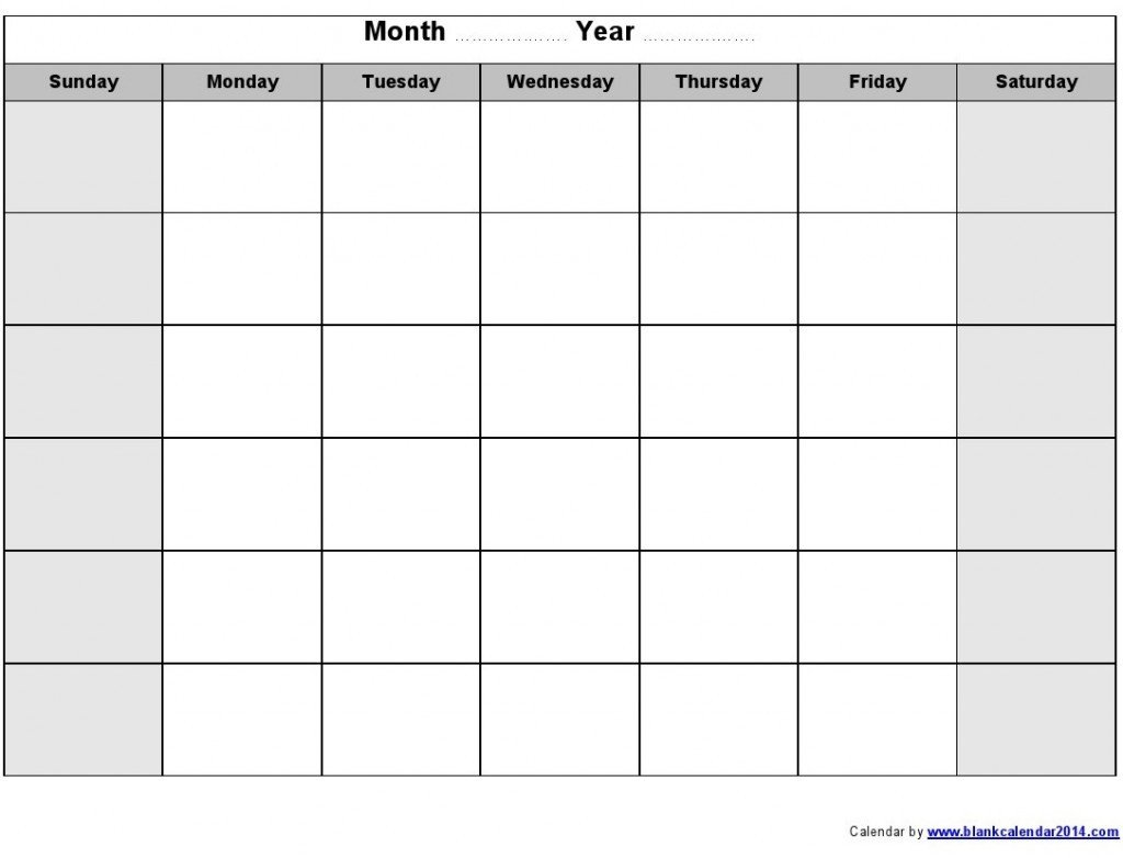 Blank Printable Calendar Template Monthly Schedule Template
