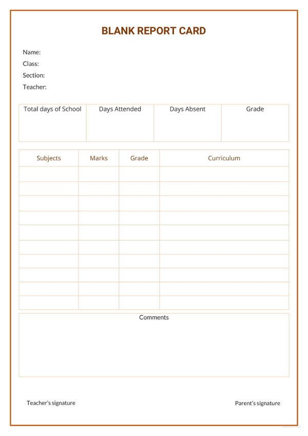 Blank Report Card Template 17 Report Card Template 6 Free Word Excel Pdf