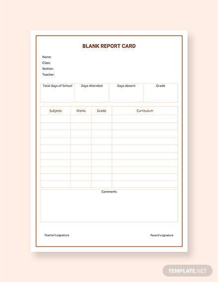 Blank Report Card Template Free Report Card Templates
