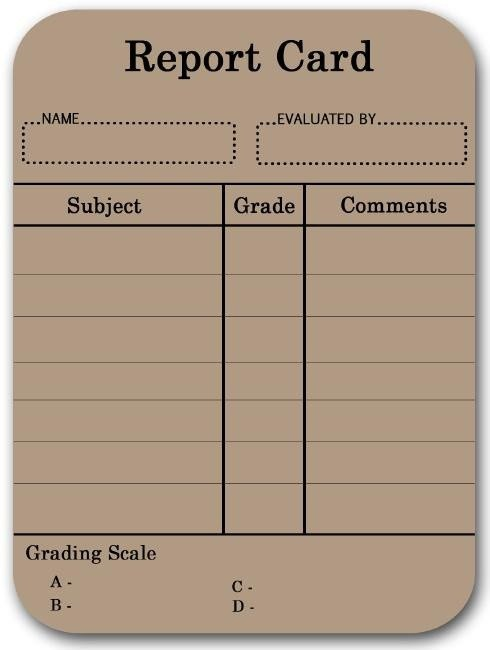 Blank Report Card Template Real Life Downloaded