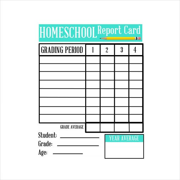 Blank Report Card Template Sample Homeschool Report Card 7 Documents In Pdf Word