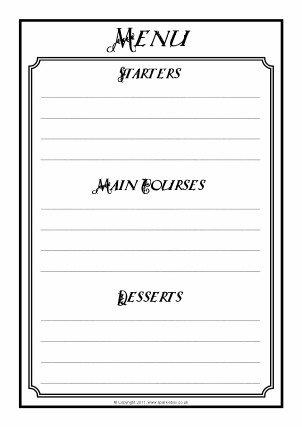 Blank Restaurant Menu Template Menu Writing Frames and Printable Page Borders Ks1 & Ks2