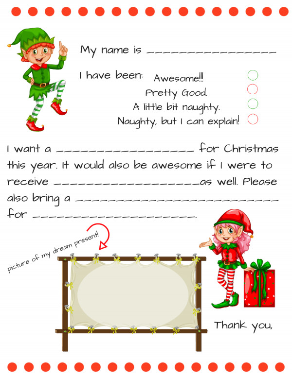 Blank Santa Letter Template Dear Santa Fill In Letter Template