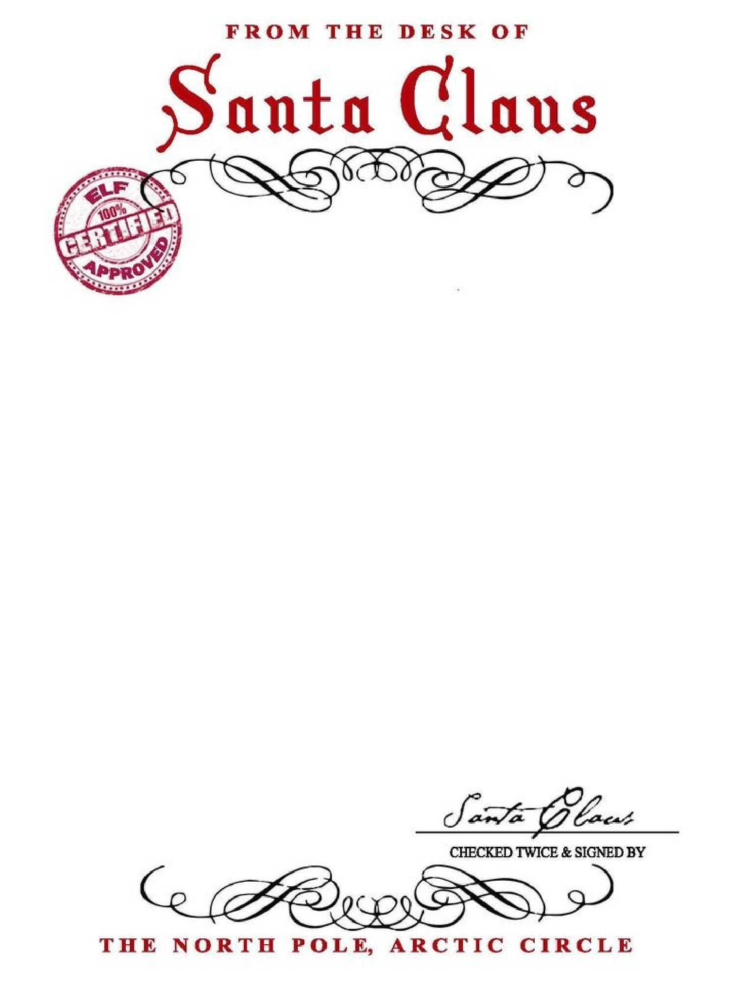Blank Santa Letter Template Free From Santa Letter with Santa Signature You Can Save