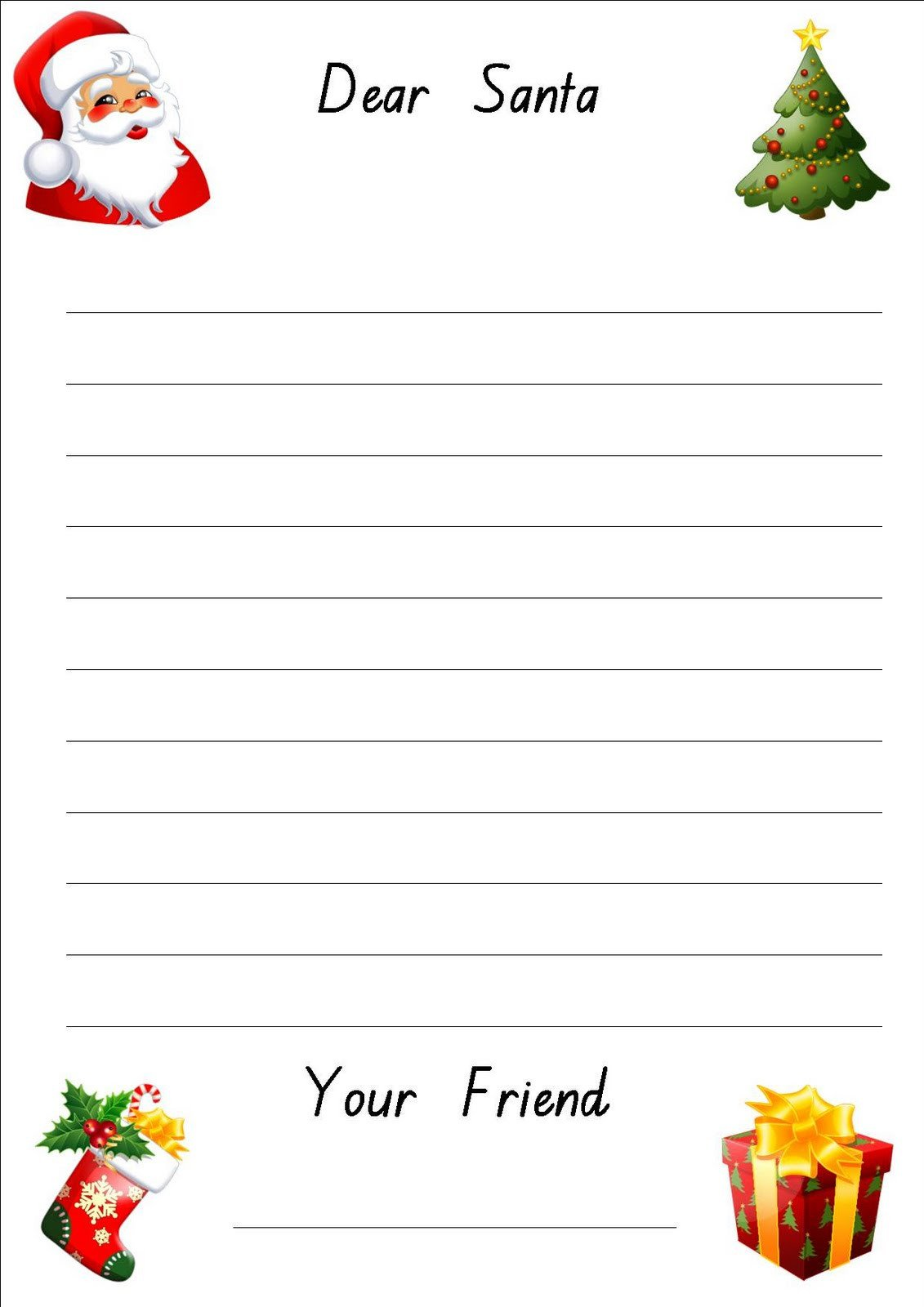 Blank Santa Letter Template Free Printable Letter to Santa Paper
