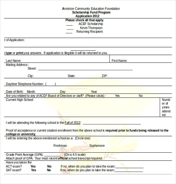 Blank Scholarship Application Template 13 Scholarship Application Templates Pdf Doc