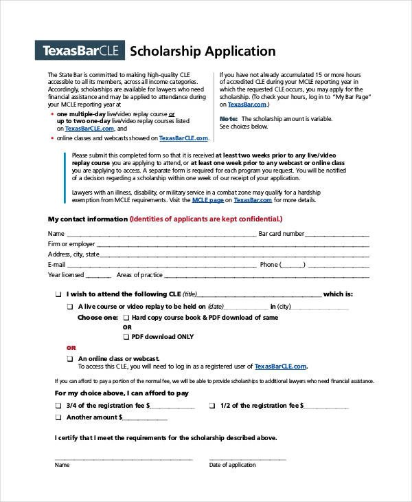 Blank Scholarship Application Template 41 Application Templates In Pdf