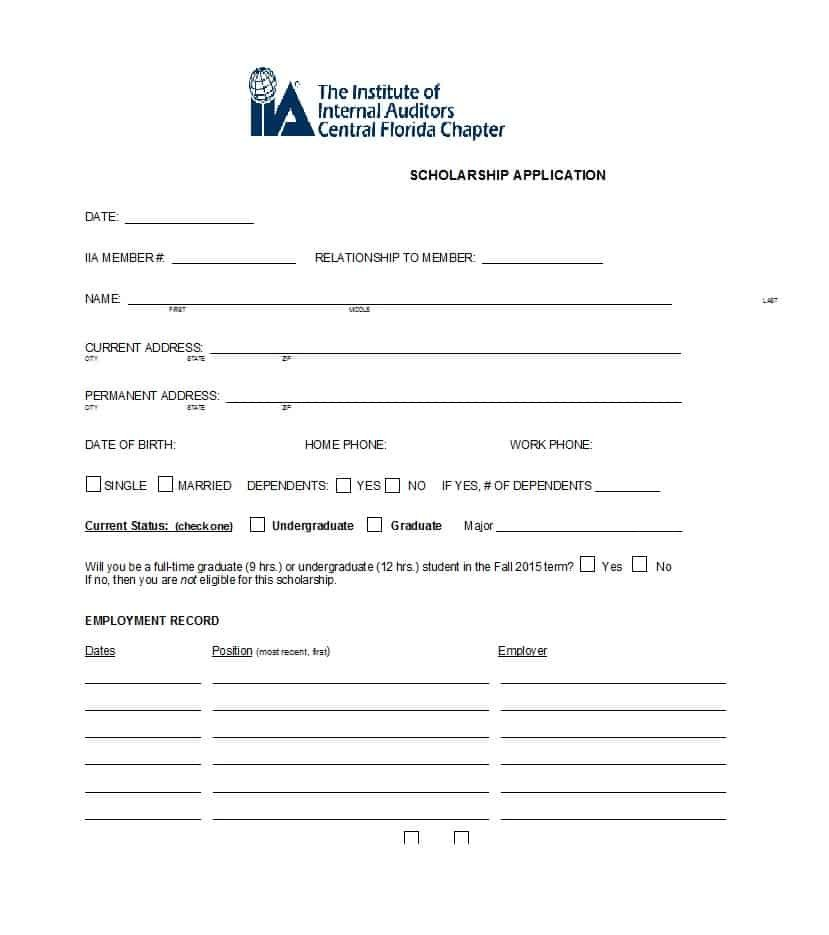 Blank Scholarship Application Template 50 Free Scholarship Application Templates & forms