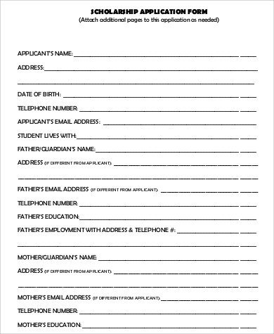 Blank Scholarship Application Template 7 Sample Scholarship Application Free Sample Example