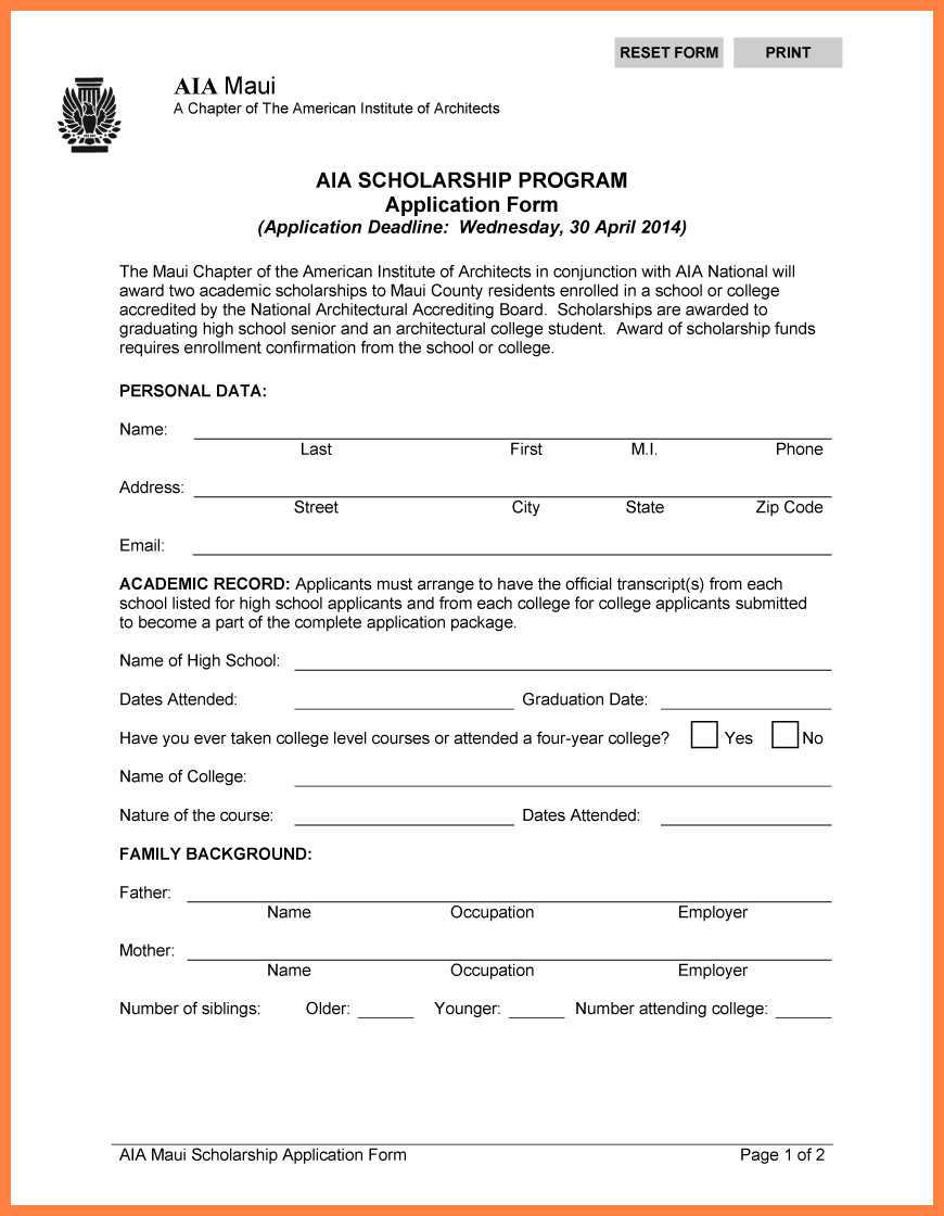 Blank Scholarship Application Template Blank Scholarship Application Template