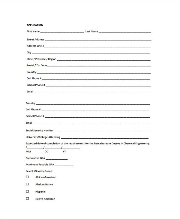 Blank Scholarship Application Template Sample Scholarship Application form 7 Documents In Pdf