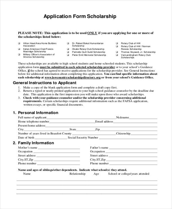 Blank Scholarship Application Template Sample Scholarship Application form 9 Free Documents In Pdf