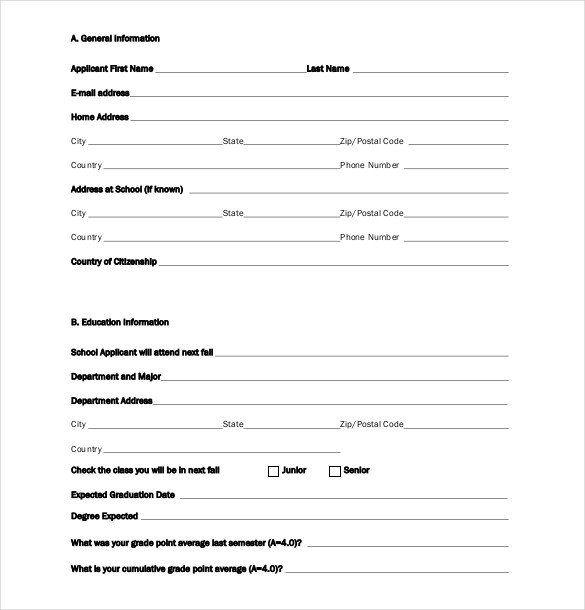 Blank Scholarship Application Template Scholarship Application Template – 10 Free Word Pdf