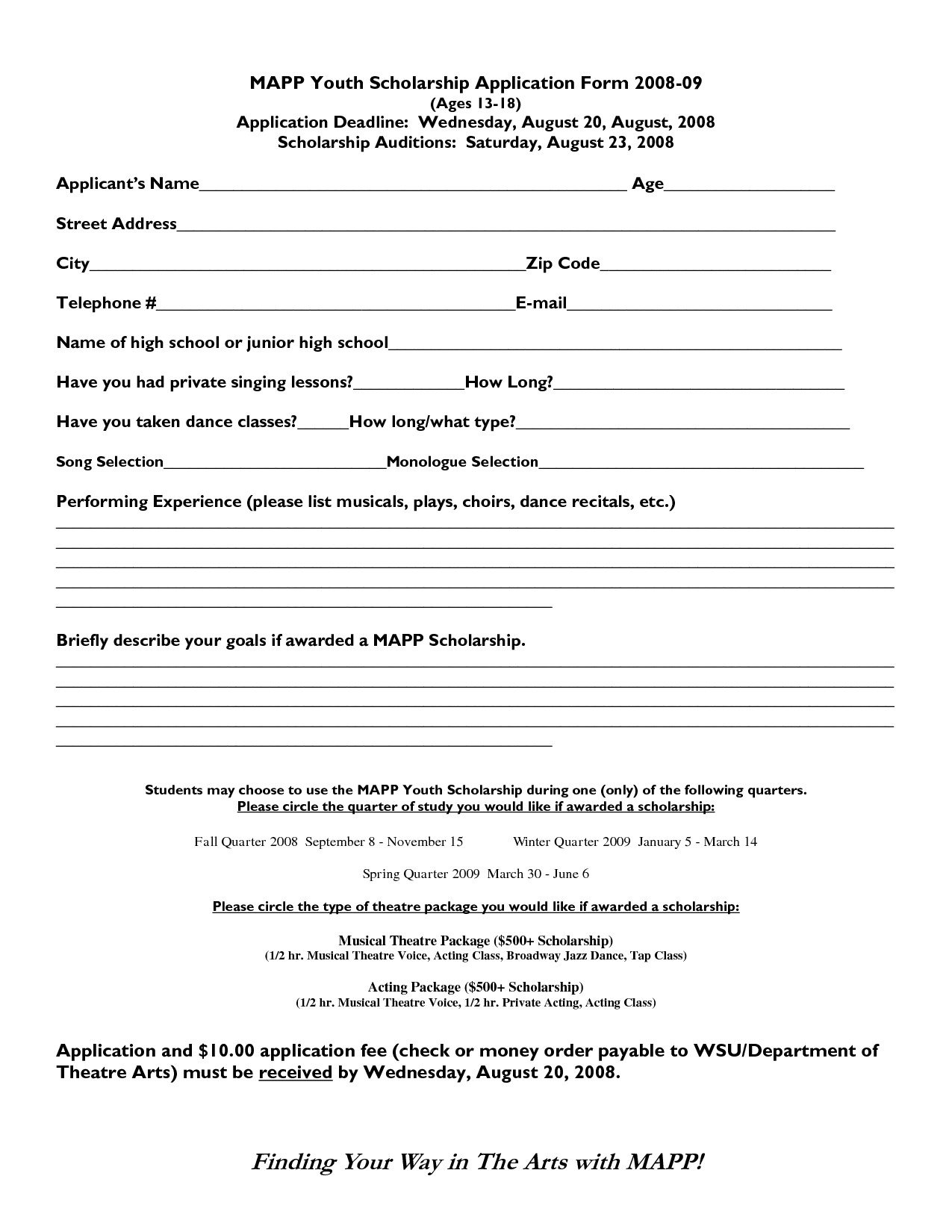 Blank Scholarship Application Template Scholarship format Sample