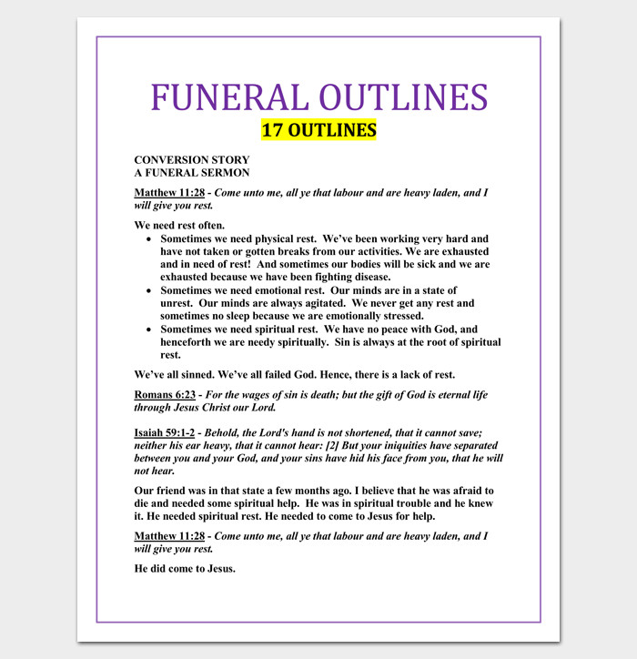 Blank Sermon Outline Template Sermon Outline Template 12 for Word and Pdf format