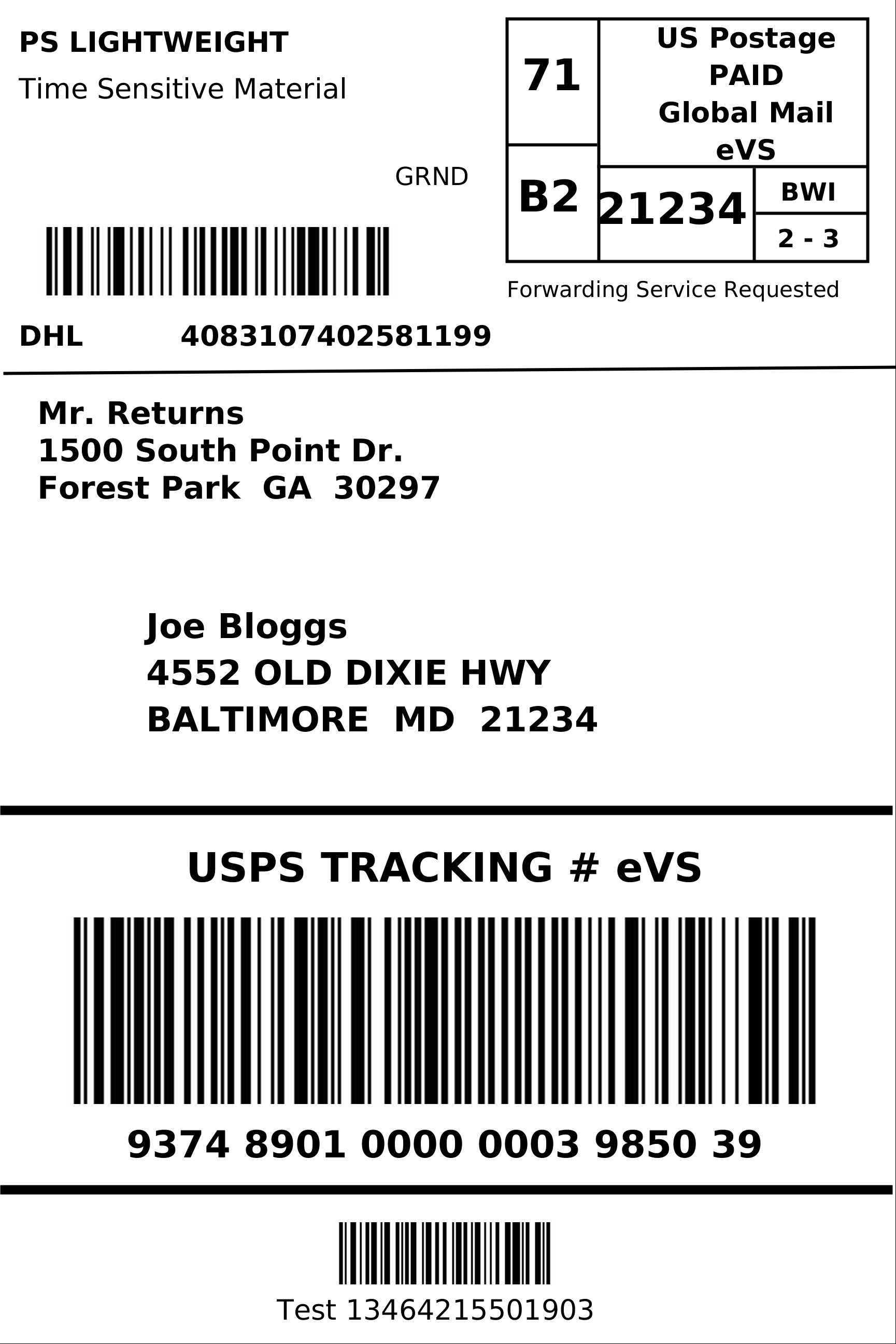 Blank Shipping Label Template 4×6 Label Template