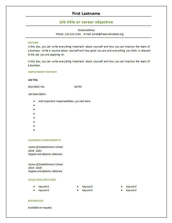 Blank Simple Resume Template 7 Free Blank Cv Resume Templates for – Free Cv