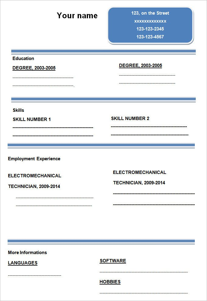 Blank Simple Resume Template Blank Resume format for Teachers