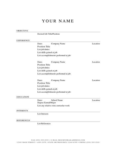 Blank Simple Resume Template Blank Resume Templates to Print