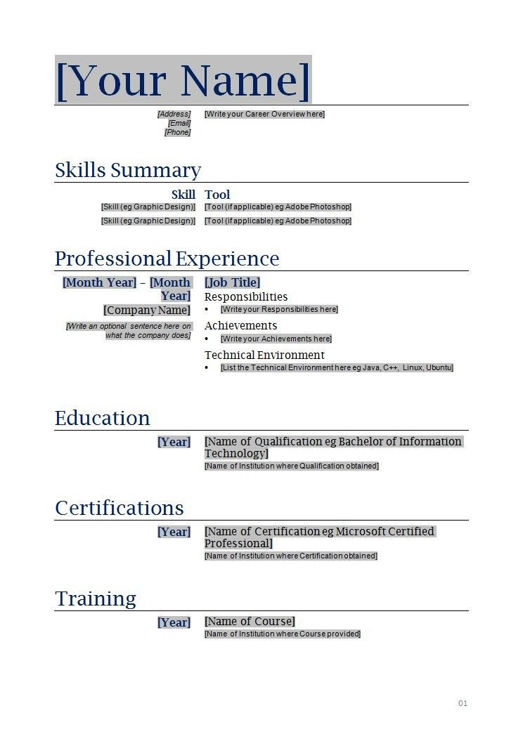 Blank Simple Resume Template Free Blanks Resumes Templates