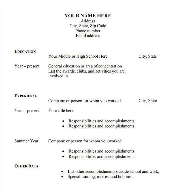 Blank Simple Resume Template Sample Blank Cv 6 Documents In Pdf Word