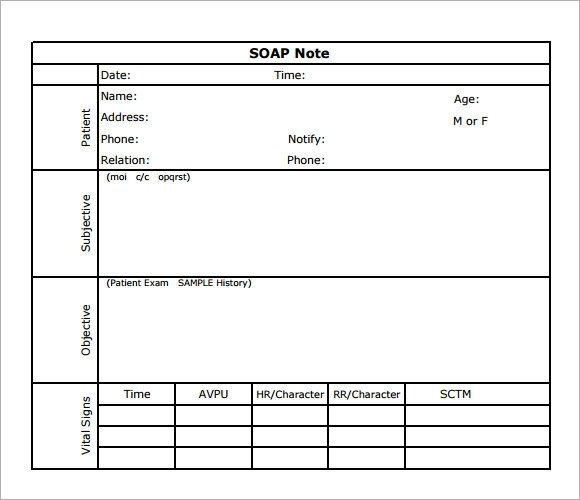 Blank soap Note Template soap Note Template 7 Download Free Documents In Pdf
