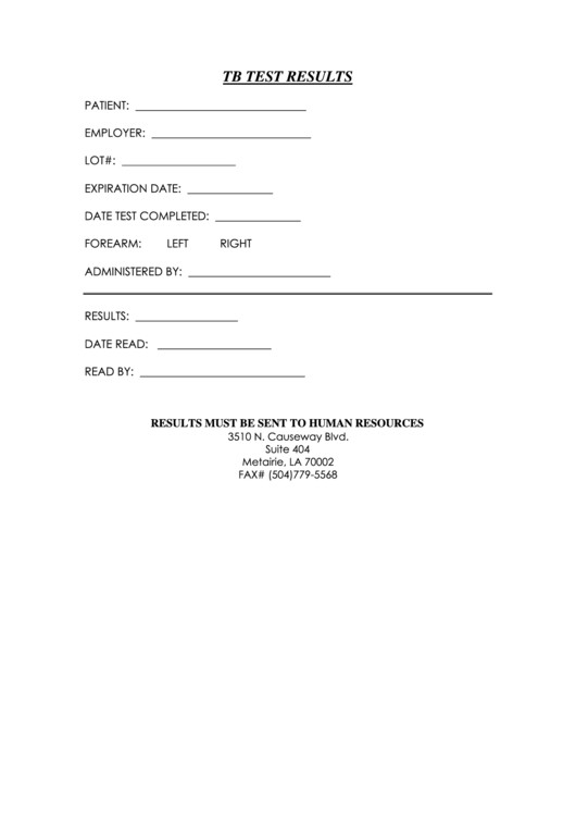 Blank Std Test Results form Tb Test Results form Printable Pdf