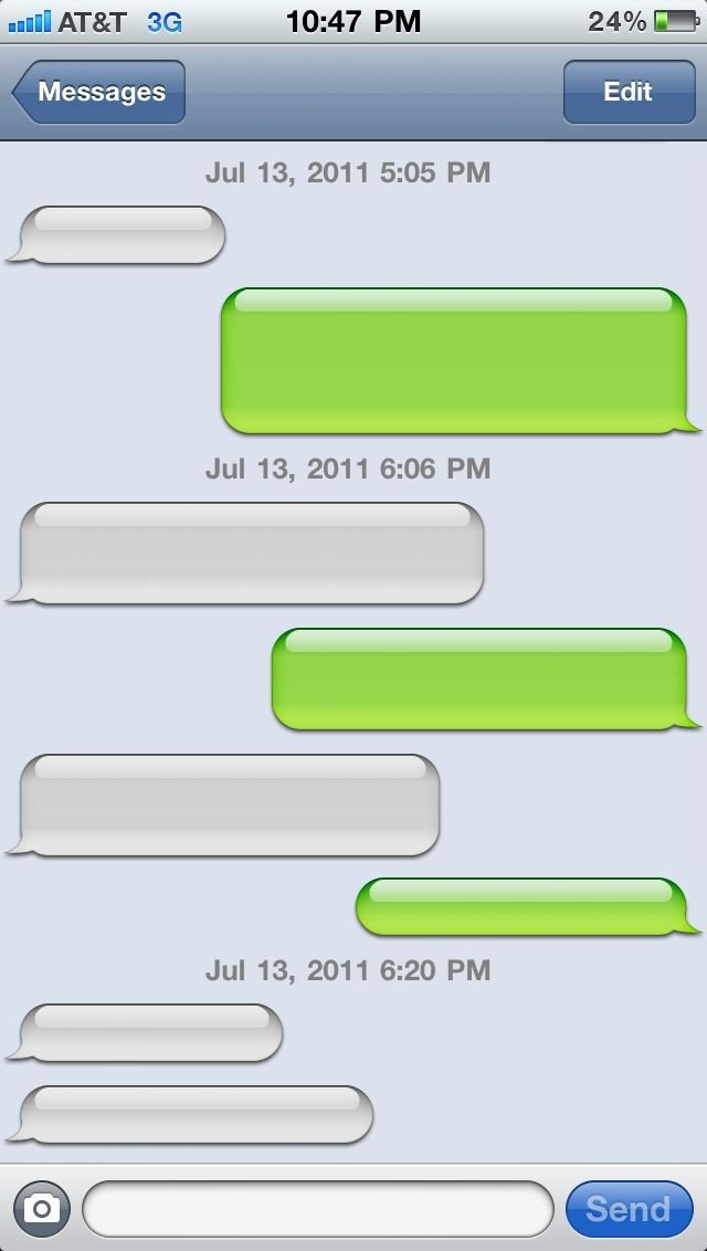 Blank Texting Template Blank iPhone Text Message Bubble Template
