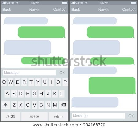 Blank Texting Template Smartphone Set White Black Blank Screen Stock