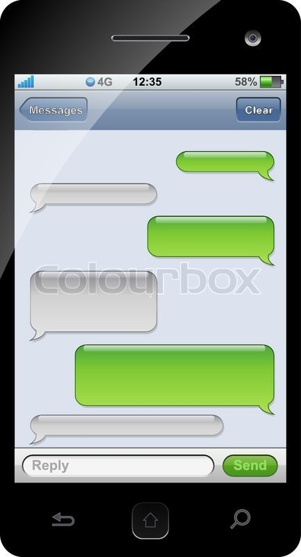 Blank Texting Template Smartphone Sms Chat Template with Copy