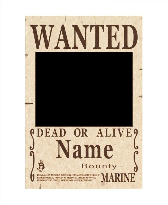 Blank Wanted Poster Template 11 E Piece Wanted Poster Templates Free Printable