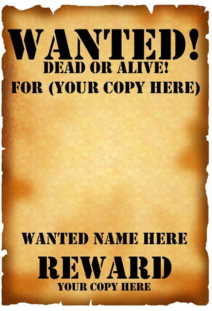 Blank Wanted Poster Template 29 Free Wanted Poster Templates Fbi and Old West